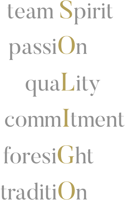SOLIGO: team spirit - passion - quality - commitment - foresight - tradition